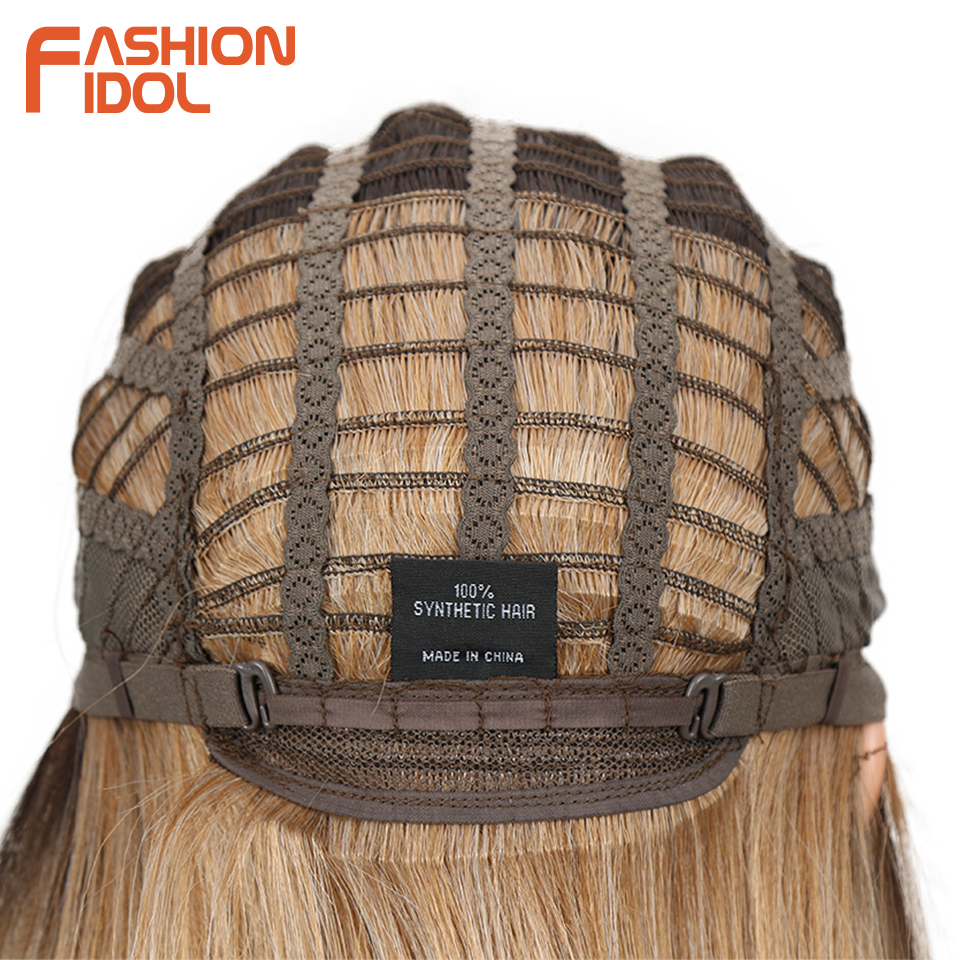 Image 5 - FASHION IDOL Short Bob Wigs For Black Women 14 inch Ombre 613 Blonde Linen Color Neat Fringe Straight Hair Synthetic Wig Cosplay-in Synthetic None-Lace  Wigs from Hair Extensions & Wigs