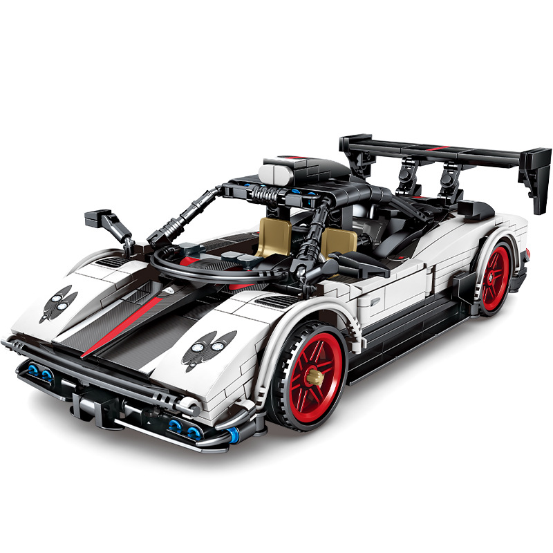 <font><b>Technic</b></font> Creator Paganied Super Racing Sports Pull Back Car Building Blocks Kit Bricks Classic Model Kids Toys For Children Gift image