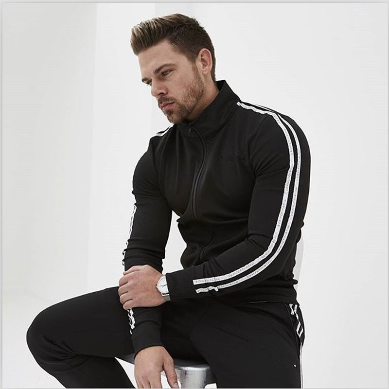 2019 New Fitness Men's Slim Autumn And Winter Sports Suit Fashion Sports Gym Fitness Pants Fitness Running Clothes