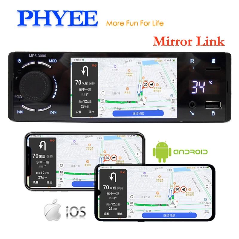 "Bluetooth Autoradio 1 Din Spiegel Link 4 ""Touch Screen MP5 Video Speler USB TF Handsfree A2DP Stereo Systeem hoofd Unit PHYEE 3006"