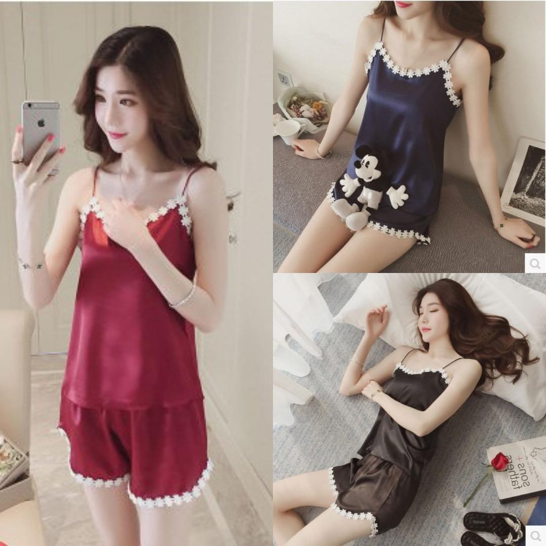 Summer New Style Vest Ice Silk Spaghetti Strap Pajamas Female Summer Korean-style Sexy Two-Piece Shorts Set