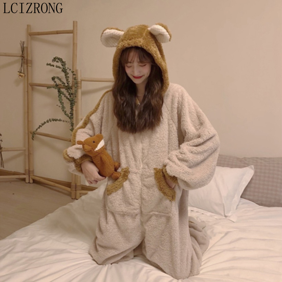 New Winter Cartoon Animal Ladies Onesie Thick Warm Coral Fleece Pajamas Sleepwear Cute Bear Hooded Home Wear With Pocket