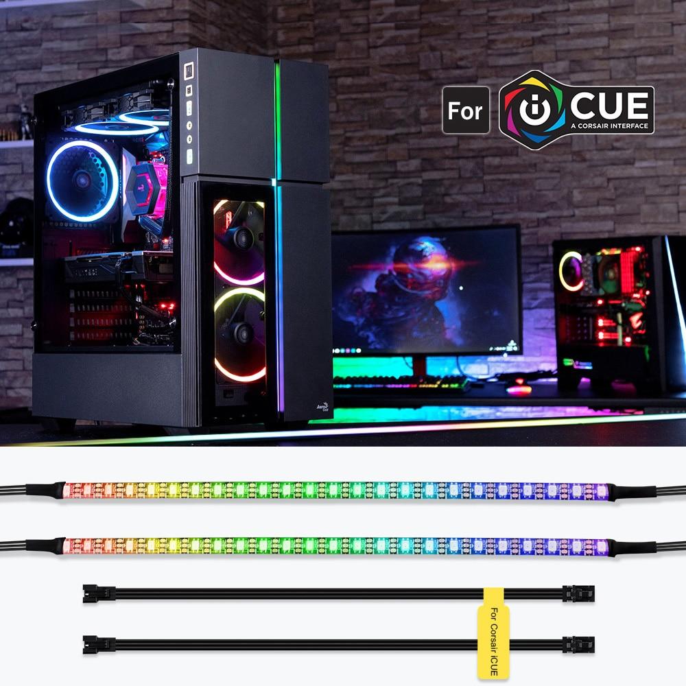 individually addressable rgb led strips for icue corsair led lighting kit decor pc case led strip 5v ws2812b rainbow color strip