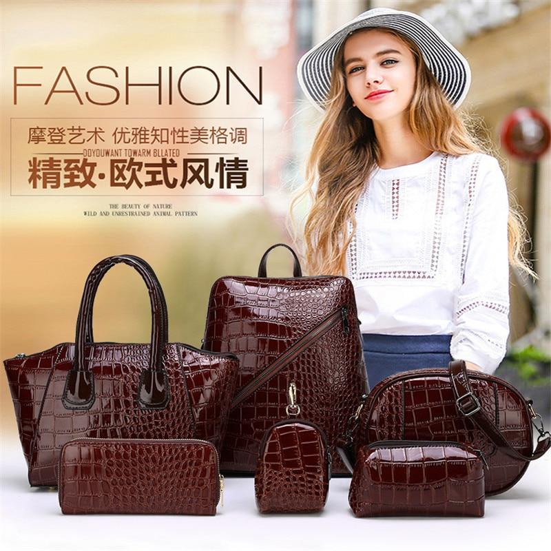 2019 new 6 pieces / set Luxury women composite bags Large-capacity women handbags Crocodile shoulder bags bolsa feminina