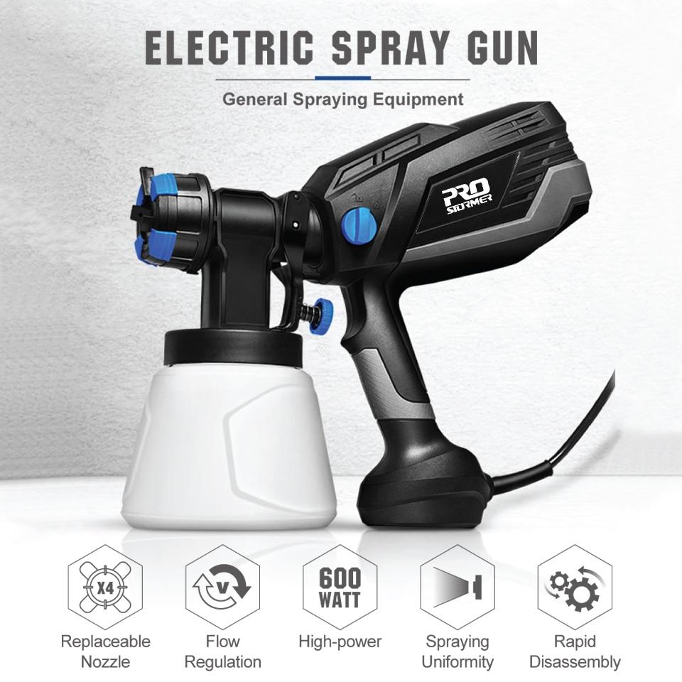 Sizes Paint Electric 1000ml Spray Spraying 4 Airbrush Gun Easy Sprayer HVLP Nozzle By Flow PROSTORMER Control 600W Household
