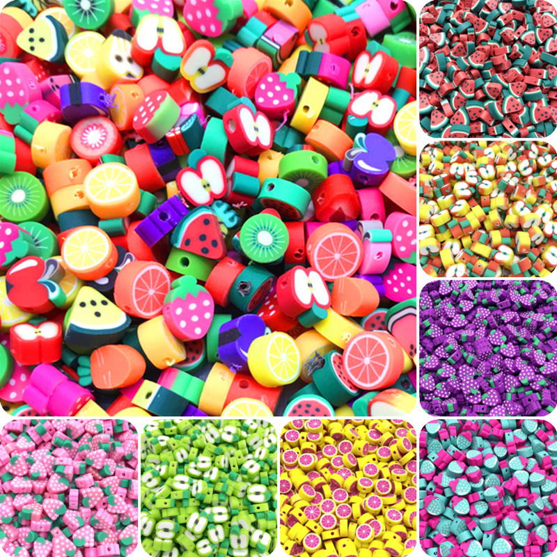 30pcs/lot 10mm Fruit Beads Polymer Clay Beads Mixed Color Polymer Clay Spacer Beads For Jewelry Making DIY Bracelet necklace