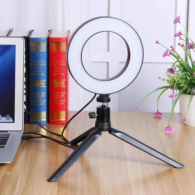 16cm LED Dimmable יופי Selfie טבעת אור מנורת w/טלפון קליפ מחזיק חצובה מקצועי לחיות סטודיו צילום אבזרים