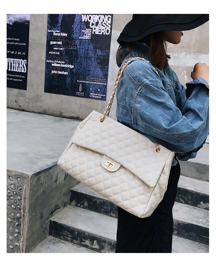 Big Bag For Women 2019 Large Capacity PU Leather Handbag Purse Black Quilted Shoulder Crossbody Bag Chain Flap Travel Satchel
