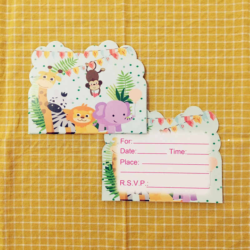 10pcs jungle animals safari theme invitation cards for kids birthday party baby shower invitation