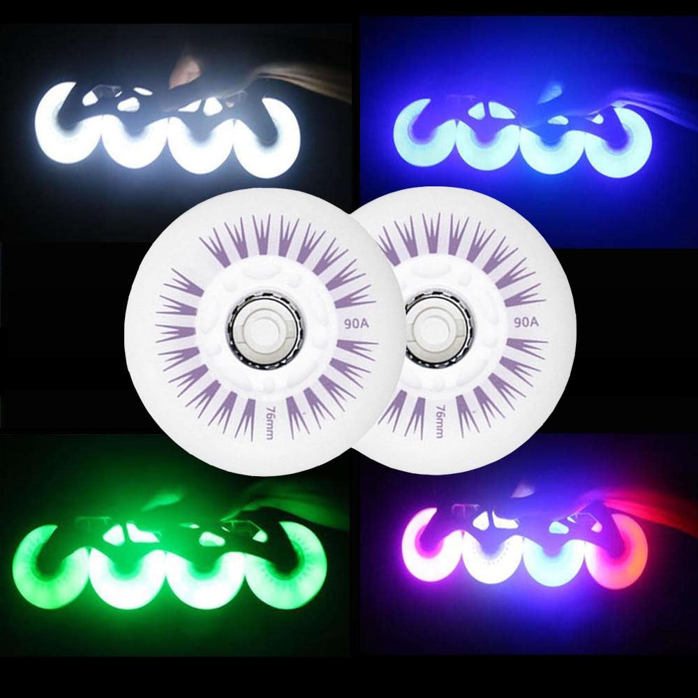 Green Led Light Up Inline /& Roller Skate Wheels Sliding Flash 80mm 2Pcs