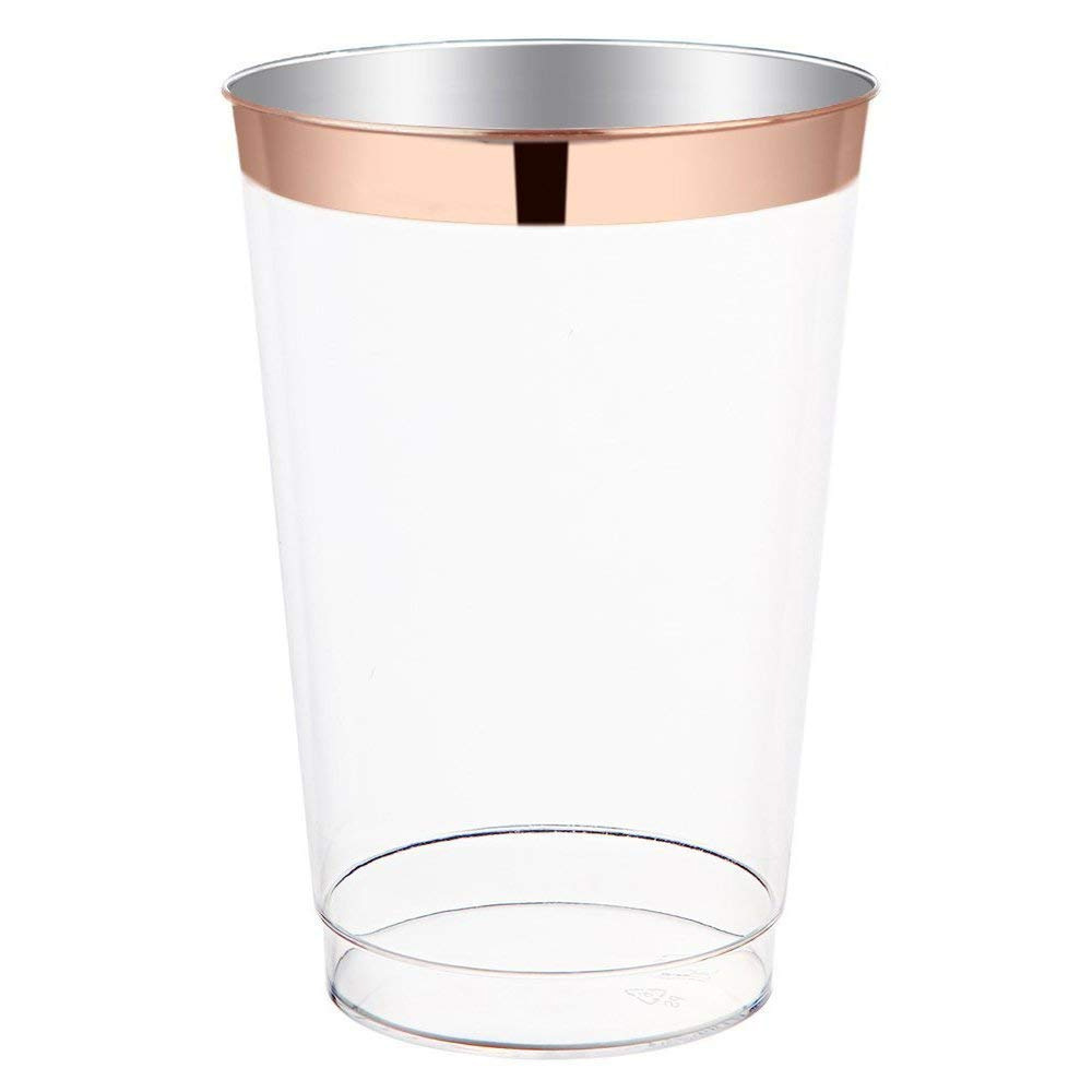 12 Oz Disposable Transparent Hot Rose Gold Cup PS Material Plastic Cup Customizable Wholesale