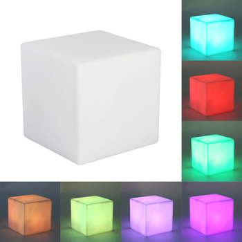 LED Color Changing Mood Cube Night Light Table Lamp Gadget Home Party Decor Decoration Lighting 7 Color wedding reception under vase lighting rgb color changing 6inch round led light base for table vases decoration
