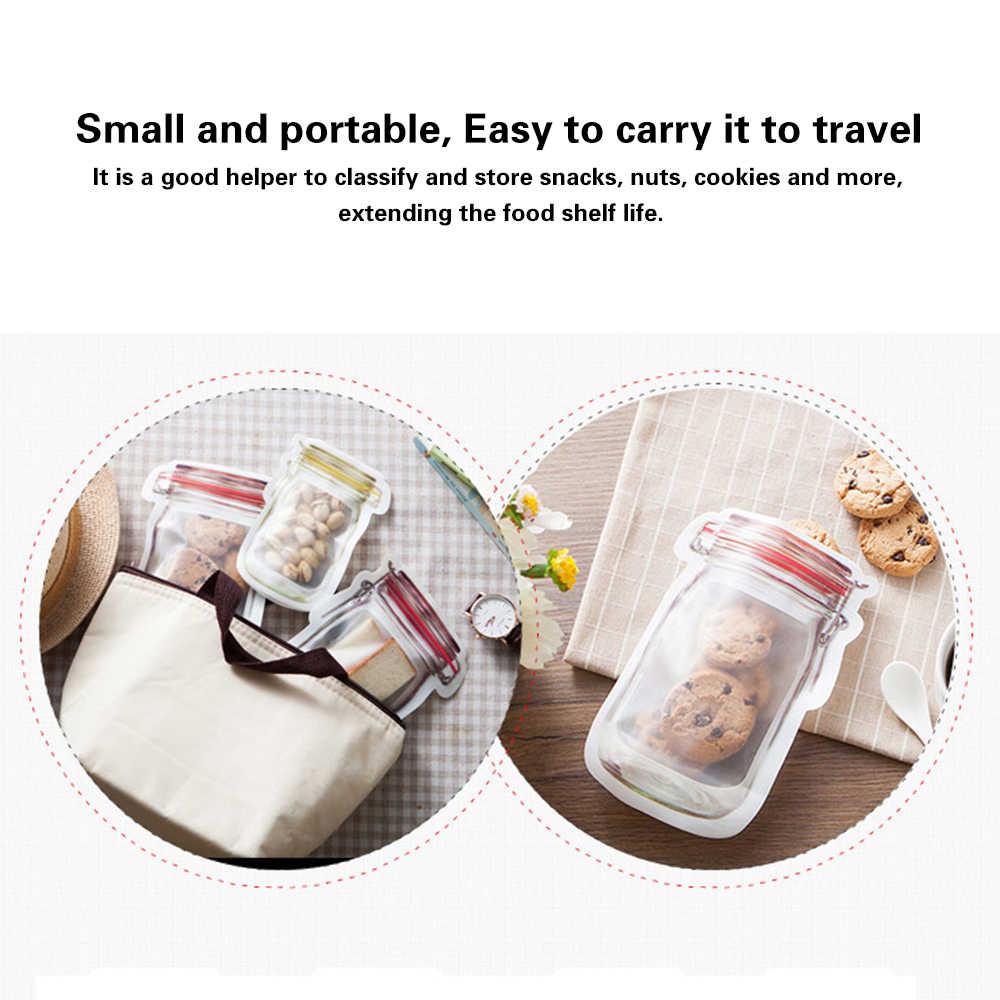 3 個透明食品鮮度保持袋ボトル形のビスケットスナック収納シーラーバッグジップロックバッグ赤色