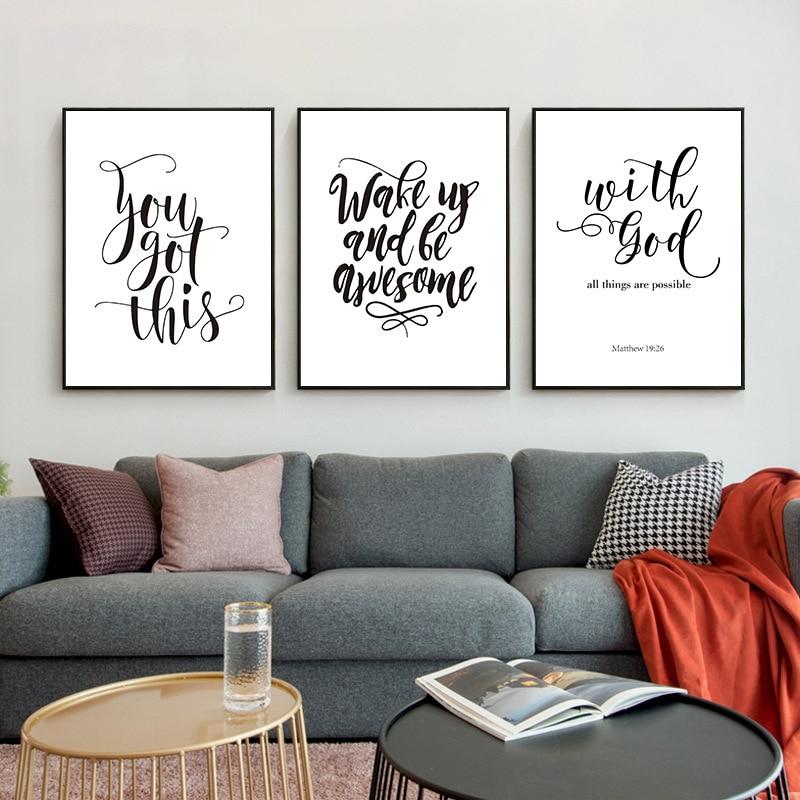Inspirador discurso imagem da parede cartaz moderno impressão em tela pintura minimalista inglês citação arte foto sala de estar decoração