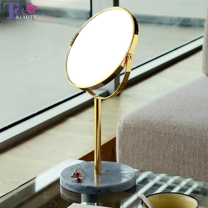 Makeup Mirror Desktop Mirrors Gold/Rose Gold 3X Magnification Metal + Marble Production Vanity Mirror The Best Christmas Gift vase