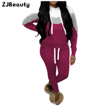 Зимняя женская цветная спортивная одежда, костюм из 2 предметов, тренировочный костюм с длинным рукавом, толстовка с капюшоном, топы, леггинсы, штаны, повседневный комплект# g4