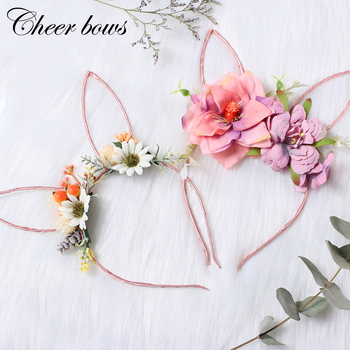 Organza Flower Rabbit Ears Bunny Hairband For Girls Easter Bunny Headband Party Headwear Easter Gift Girls Hair Accessories 186pcs luminous cat ears headwear plastic glow headbands easter hair accessories hairband halloween easter headdress headpieces
