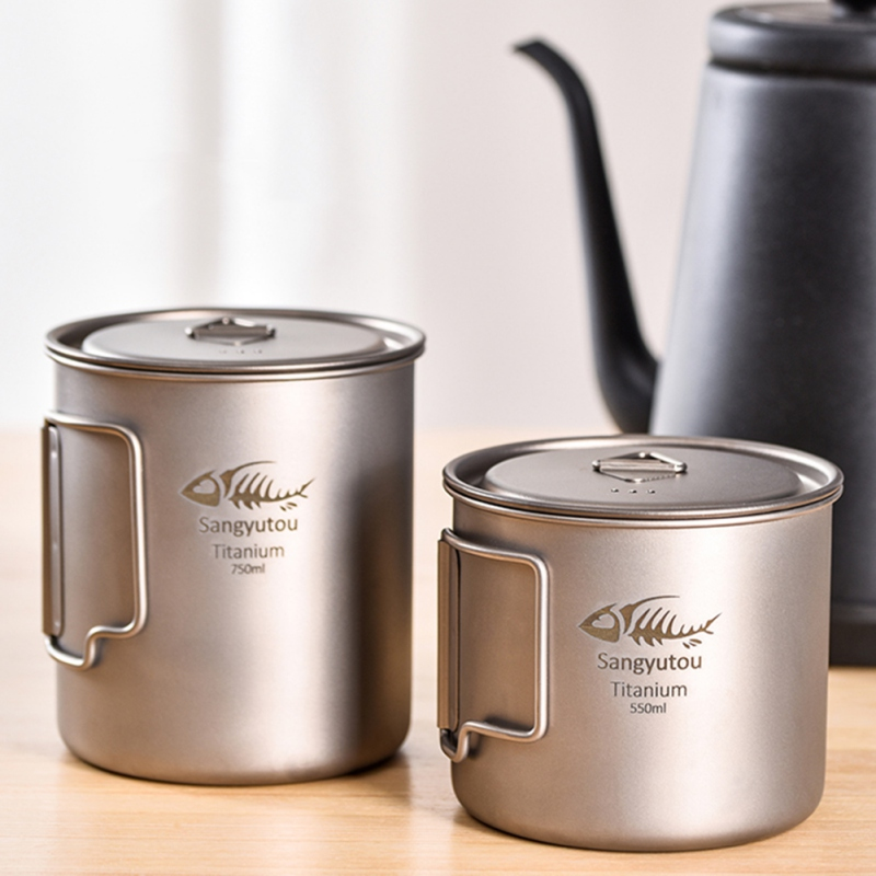 350/450/550/650/750ml Cup Portable Tableware Outdoor Titanium Cup Mug Pots Tableware Camping Cup Picnic Water Cup