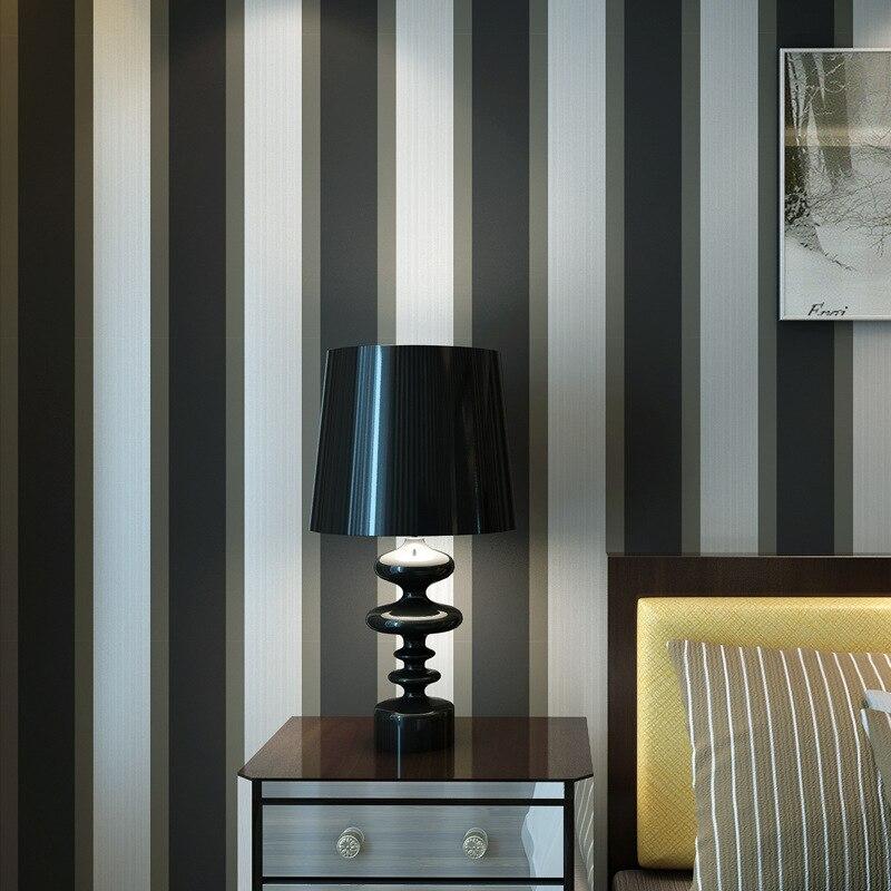 Modern Minimalist 3D Nonwoven Fabric Wide Stripe Wallpaper Bedroom Living Room Television Sofa Background Wallpaper Luxury Black
