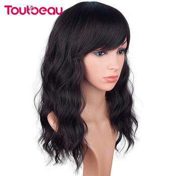 Średnie długie ciemne brązowe faliste peruki dla czarnych kobiet czarne Mix brązowe peruki syntetyczne z grzywką naturalny wygląd peruki z kręconych włosów tanie i dobre opinie Toutbeau Wysokiej Temperatury Włókna CN (pochodzenie) Luźne fale 1 sztuka tylko 150 Średnia wielkość Dark brown 16inch