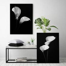 Черный белый цветок холст плакат скандинавский настенный художественный