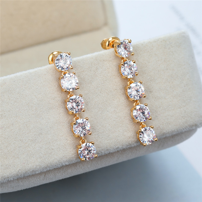 Cute Female Purple Crystal Drop Earring Rose Gold Silver Color Dangle Earrings Classic Rainbow Round Wedding Earrings For Women