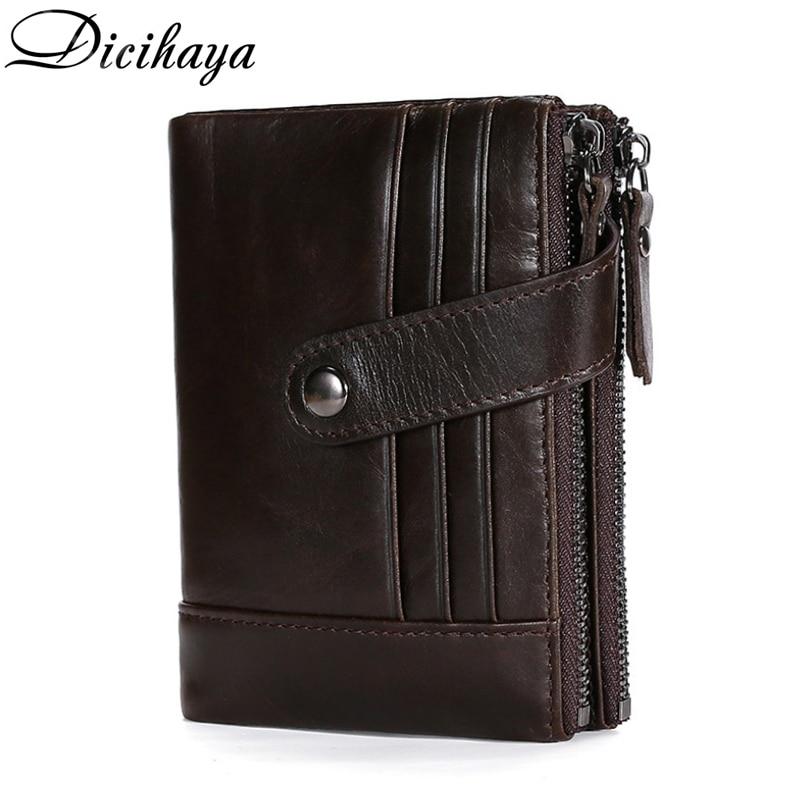 DICIHAYA Zipper Men Wallet Genuine Leather Short Wallets Male Multifunctional Cowhide Hasp Purse Coin Pocket Photo Card Holder