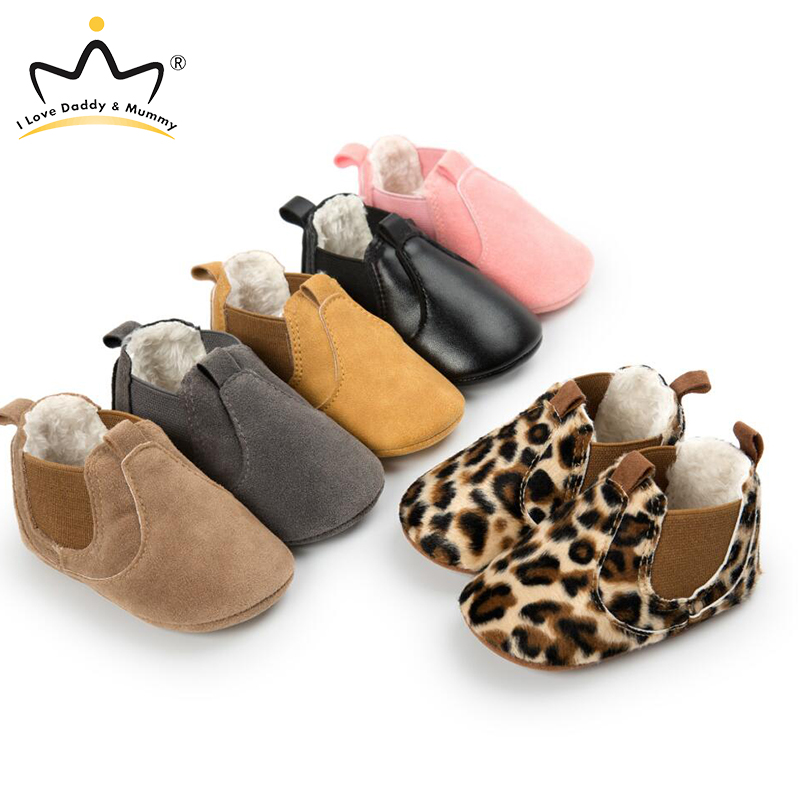 Winter Warm Leather Baby Shoes Boy Girl Boots Solid Leopard Newborn Toddler Shoes First Walkers Baby Boots
