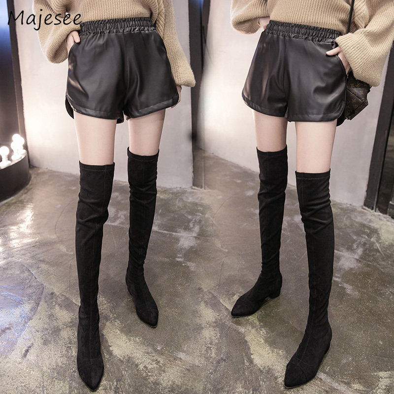 Shorts Women Winter PU Large Size 4XL High Elastic Waist Pockets Loose All-match Womens Trousers Korean Style Simple Fashion New