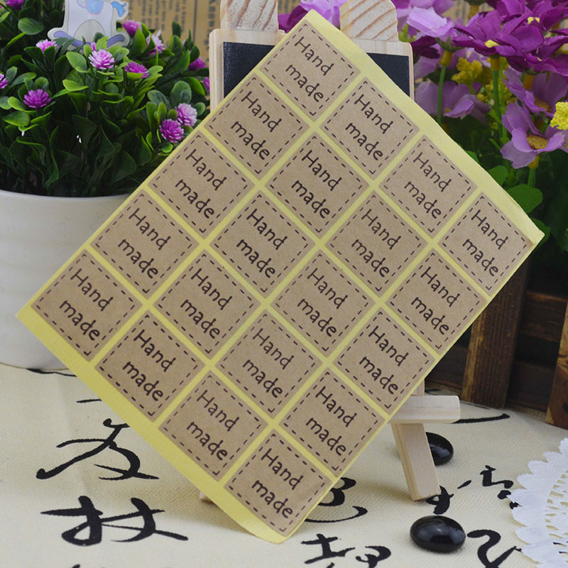 10Sheets=200Pcs Hand Made Adhesive Stickers Sealing Label Stickers Kraft Paper Stickers For Gifts Girls