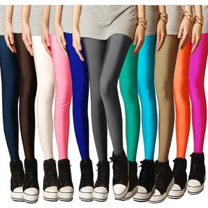 Image 1 - 2019 nueva primavera mallas de neón caramelo para mujeres alta estiramiento femenino nueve minutos pantalones legging pantalones chica ropa leggins