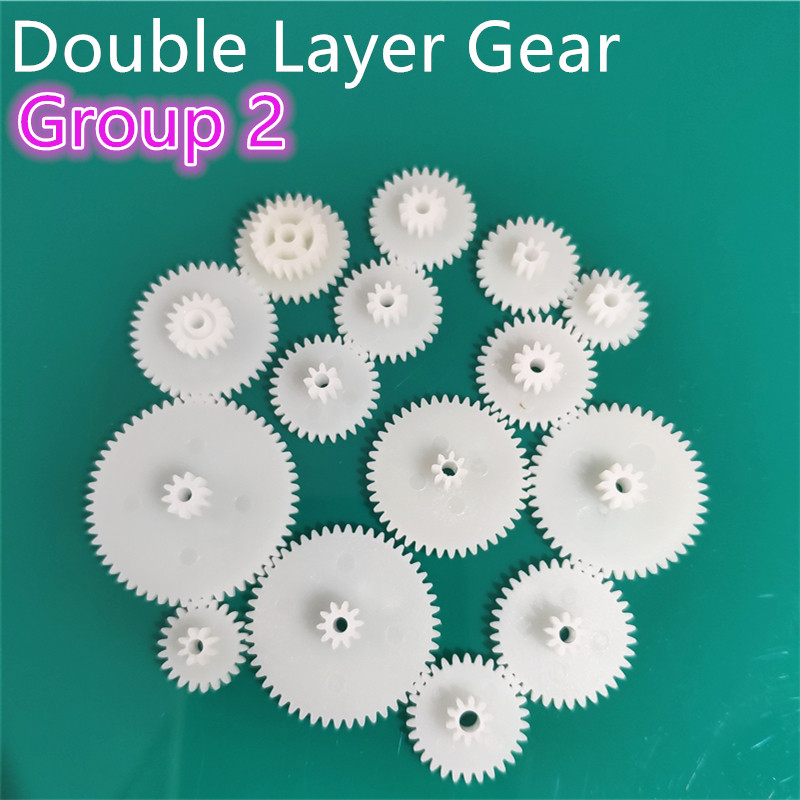 All Kinds M0.5 Plastic Teeth Double Layer Gears Reduction Gear Group 2 Deck DIY Toy Robot Car Helicopter Parts Dropshipping