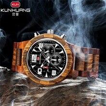 Wood Watches Men Luxury Brand Luminous Multi-function Wooden