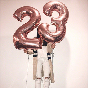 16/32inch Number Foil Balloon Rose Gold Silver Discolor Digital Globos Birthday Party Decoration Baby Shower Supplies Globos(China)