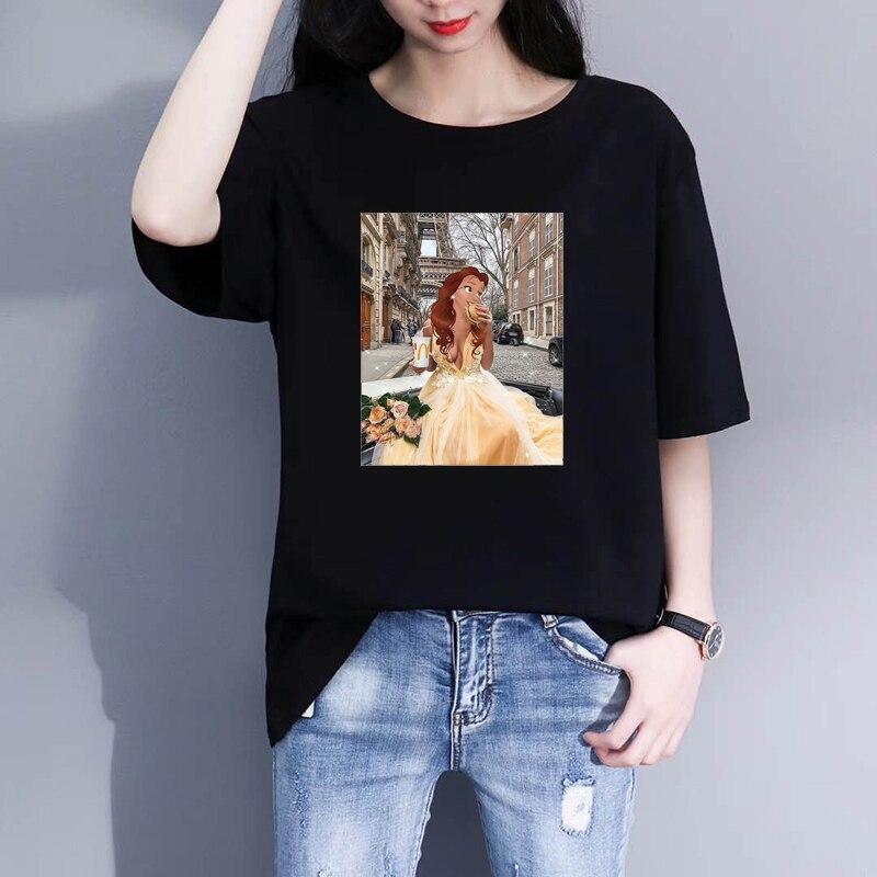 Летняя Новинка 2020, женская футболка, модная футболка принцессы с принтом, женская футболка Harajuku, женская одежда, черные футболки