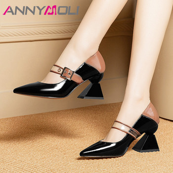 ANNYMOLI High Heels Women Shoes Natural Genuine Leather Strange Style High Heel Mary Janes Shoes Buckle Pointed Toe Pumps Ladies