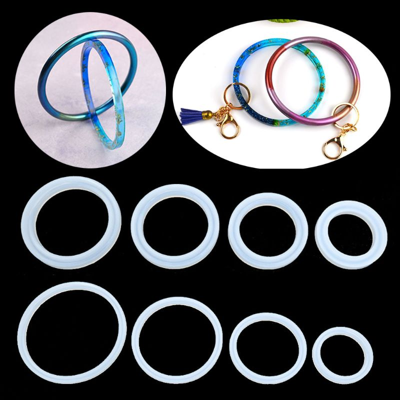 4PCS-8PCS/set Large Size Bracelet Keychain Resin Mold Bag Wristlet Key Ring Mold Jewelry Tools