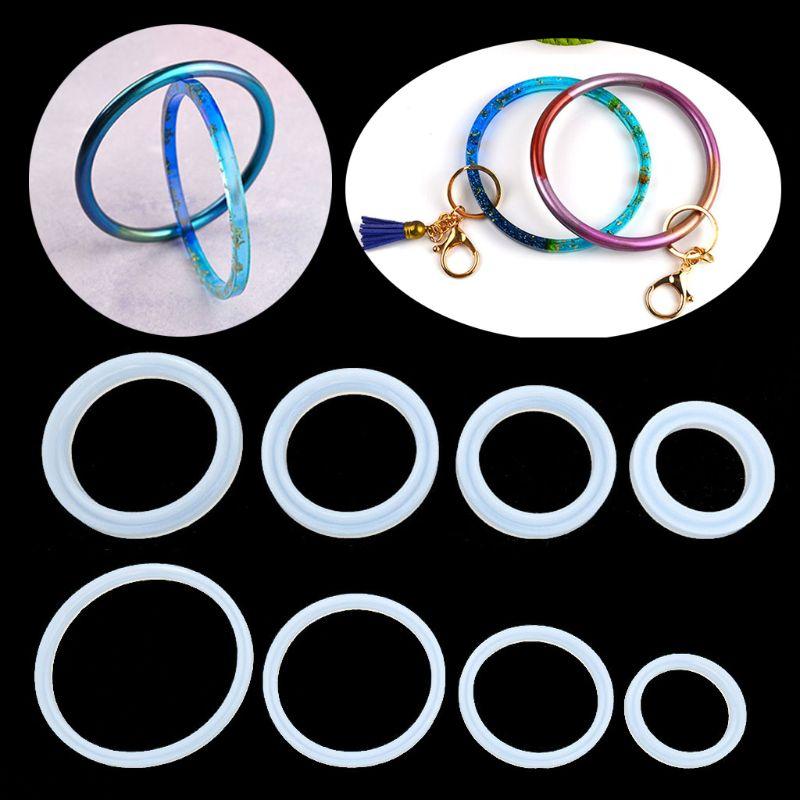 4PCS-8PCS/set Large Size Bracelet Keychain Resin Mold Bag Wristlet Key Ring Mold Jewelry Tools