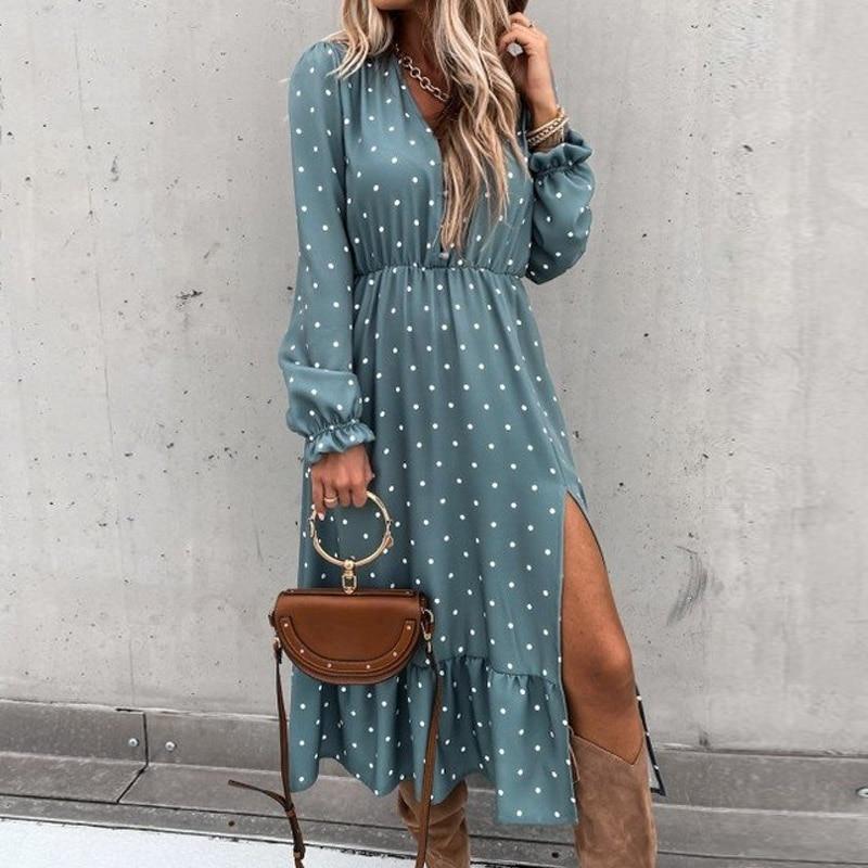 Floral Print Women Slim Long Shirt Dress 2021 Spring V-neck Button Split Party Dress Autumn Long Sleeve Elastic Waist Maxi Dress 4