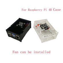лучшая цена For Raspberry Pi 4B Case Box Case Shell Enclosure With Cooling Fan  Housing Protecting Cover For Raspberry Pi 4