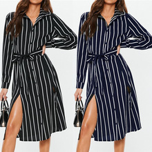 купить Shirt Dress 2019 Autumn Chiffon Boho Beach Striped Dresses Women Spring Casual Print A-line Midi Dress Long Sleeve Vestidos дешево