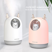 ELOOLE 300ML USB Ultrasonic Air Humidifier For Car Office Mini Aroma Essential Oil Humidificador with cool cute cat led(China)