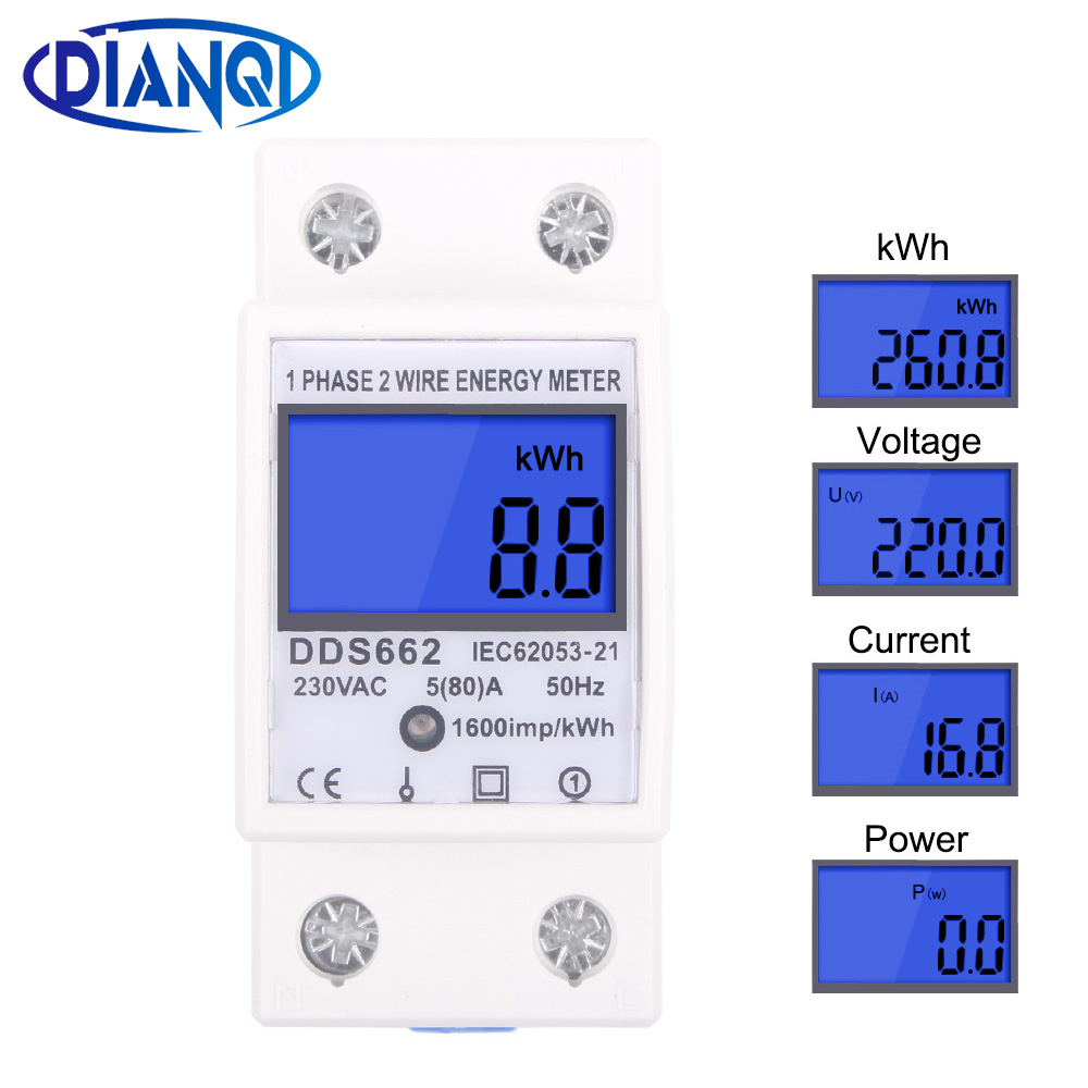 Single Phase Two Wire LCD Digital Display Wattmeter Power Consumption Energy Electric Meter KWh AC 230V 50Hz Electric Din Rail