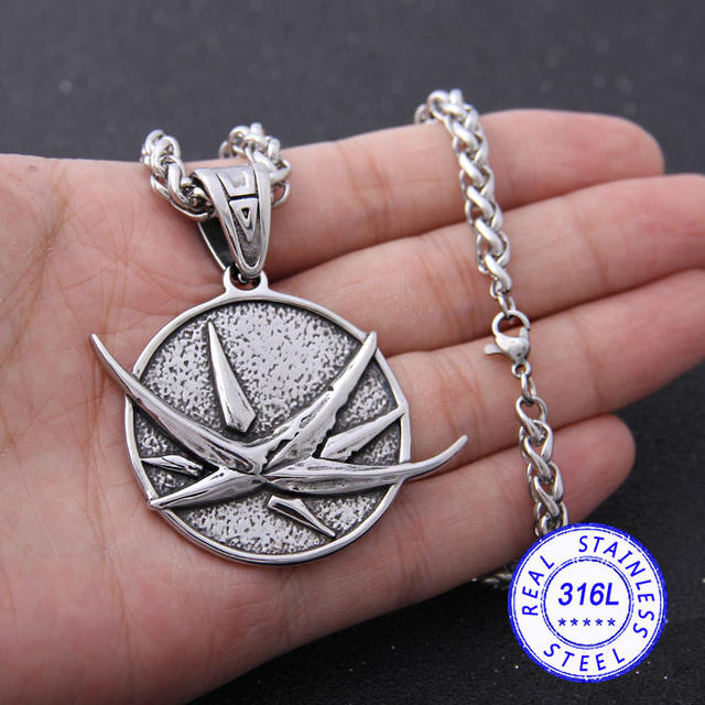 STAINLESS STEEL WIZARD WOLF VIKING NECKLACE