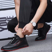 New Fashion Men's Shoes Spring NewThick-Soled Men's Shoes Black And White Red PU Low-Top Sports Style Men's Shoes Size 44