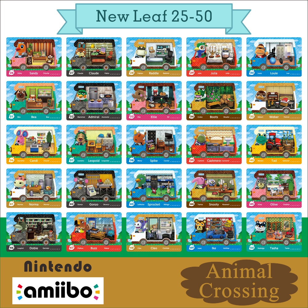 26-50 Welcome Amiibo New Leaf Animal Crossing RV Amiibo Card Villager New Leaf Raddle Julia Dobie  Animal Crossing Tad 46 28 29 1