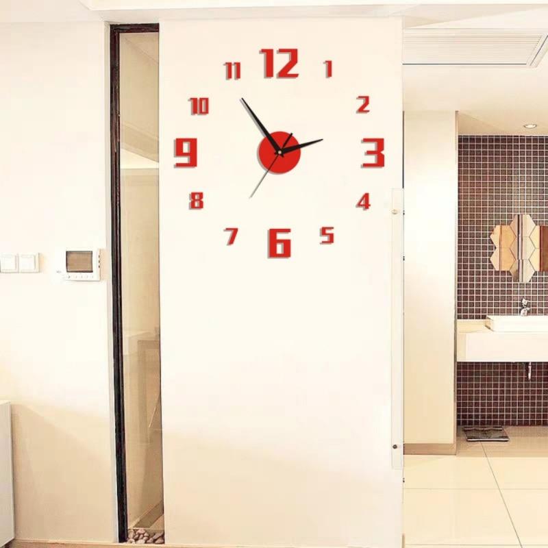 Digital B Diy Small Clock Red Modern 3d Diy Numerals Mirror Surface Wall Clock Sticker Home Office Room Diy Decor Wall Clocks Aliexpress