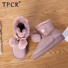 TPCR 2020 new Sheepskin Suede Leather Shearling Wool Fur Lined Women Winter Pom-pom Boots A