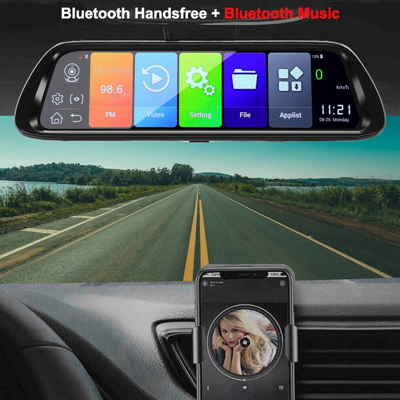Android 8.1 Car DVR GPS Navigator Camera 10Inch FHD 1080P Stream Media Rear View Mirror 4G GPS Mirror Dash Cam Recorder ADAS Wif - 3