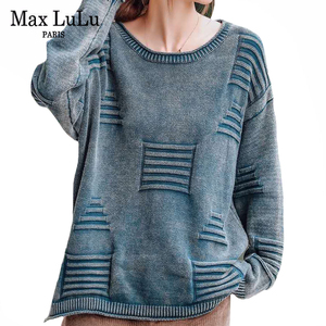 Max LuLu Korean Style Winter Clothing Ladies Striped Streetwear Women Vintage Warm Sweaters Casual Oversized Christmas Pullover